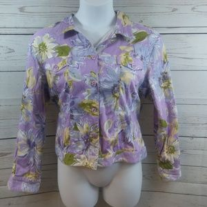 Coldwater Creek Spring Floral Cropped Button Down
